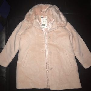 H&M Powder Pink Girls Coat with Faux Fur